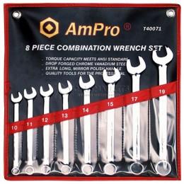 Набор ключей комбинированных 8 предметов 10-19 мм AmPro T40071