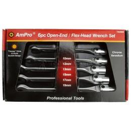 Заказать Набор ключей комбинированных рожково-шарнирных 6 предметов 10-19 мм AmPro T40990 отпроизводителя AmPro