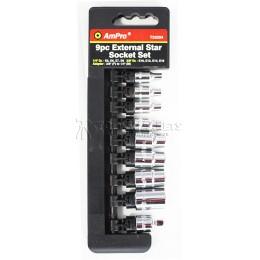 """Набор головок Torx 1/4- 3/8"""" и адаптер 3/8-1/4"""" 9 предметов AmPro T33204"""