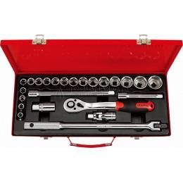 """Набор головок и аксессуаров 1/2"""" дюймовых в металлическом кейсе 24 предмета AmPro T45512"""