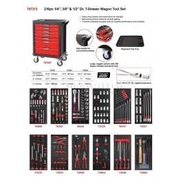 Заказать Тележка инструментальная красная с набором инструмента 216 предметов в мягких ложементах 7 ящиков AmPro T47313 отпроизводителя AmPro