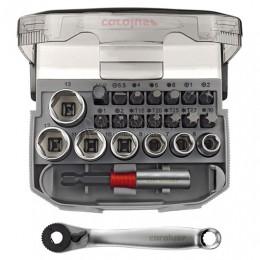 """Набор головок и бит с трещоткой 1/4"""" и компактным переходником, 23 предмета 3090.0023 CAROLUS 2978091"""