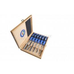 Набор стамесок с двухкомпонентными рукоятками в деревянном футляре 6 предметов 1108 HK KIRSCHEN KR-1108000