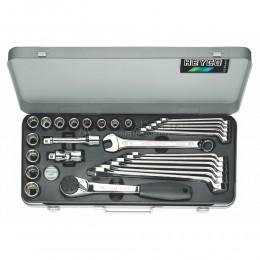 Комбинированный набор 87-3010-M с торцевыми головками и комбинированными ключами maxline 27 предметов HEYCO HE-00087301083