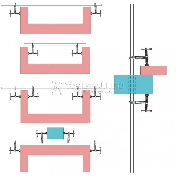 Набор высокоэффективных струбцин подстаивающихся под разнообразные формы в сборе SLV BESSEY BE-SLV100M