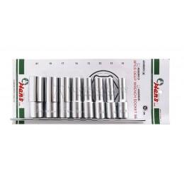 Набор длинных 6-ти гранных головок, 10-21мм, 8 предметов HANS 4608MD