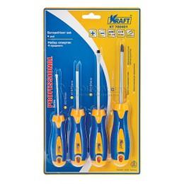 Заказать Набор отверток 4 предмета, Cr-V, двухкомпонетная рукоятка KRAFT KT 700401 отпроизводителя KRAFT