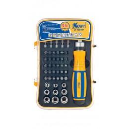Заказать Набор реверсивная отвертка с насадками-битами и  торцевыми головками, 45 предметов  KRAFT KT 700407 отпроизводителя KRAFT