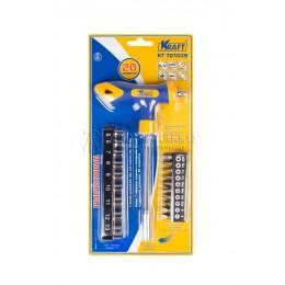 Заказать Набор Т-образная отверка с насадками-битами и торцевыми головками 20 предметов KRAFT KT 701039 отпроизводителя KRAFT