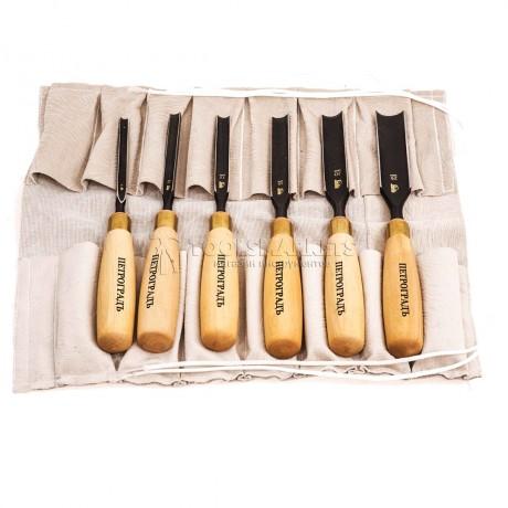 Набор стамесок полукруглая РК, 6 предметов в сумке-скрутке ПЕТРОГРАДЪ М00012812