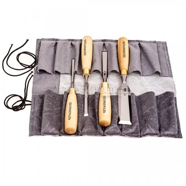 Набор стамесок прямая РК, 4 предмета, в сумке-скрутке 8-32 мм ПЕТРОГРАДЪ М00012814