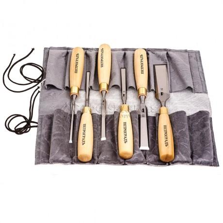 Набор стамесок прямая РК,  6 предметов, в сумке-скрутке ПЕТРОГРАДЪ М00012815