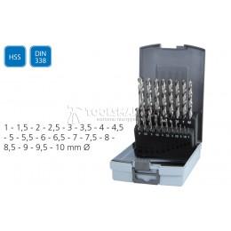 Набор сверл 1-10мм DIN 338 19 предметов SUPER-EGO SEH007000